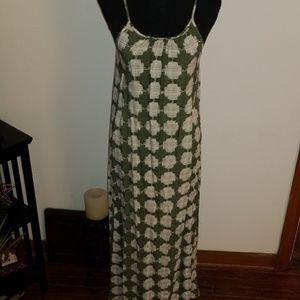Merona Green and White Print Maxi Dress
